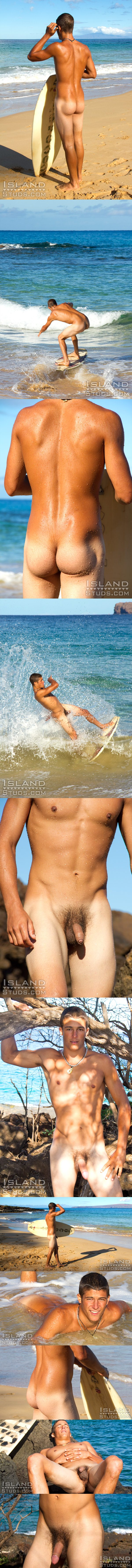 smooth young naked big dick surfer Luke solo at Islandstuds 02