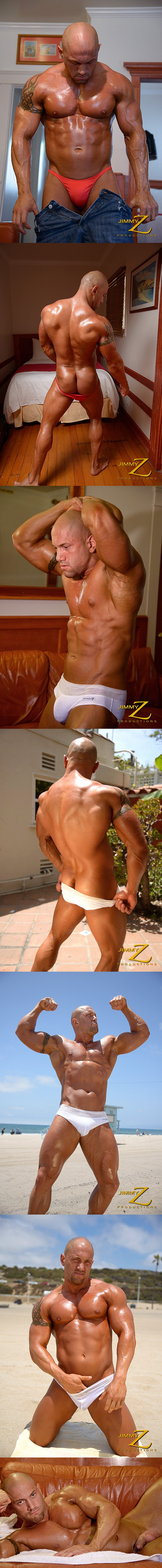 Gannicus flexes and poses under sunshine at Jimmyzproductions 02