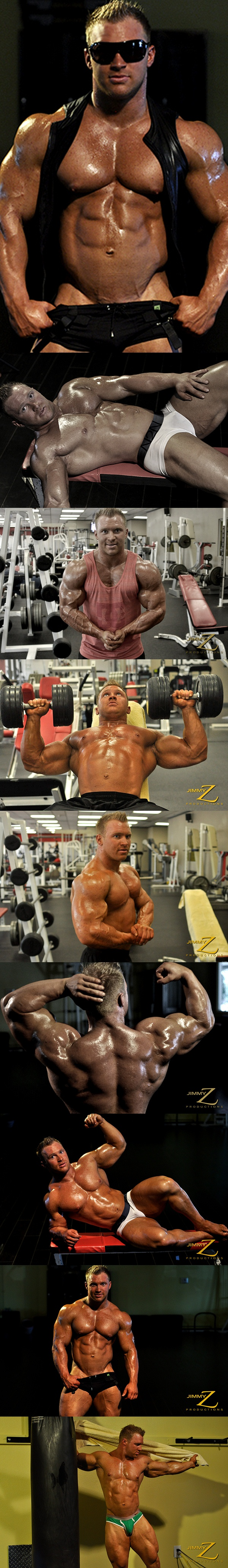 Gerard Dietrich pumping flexing posing Workout at Jimmyzproductions 02