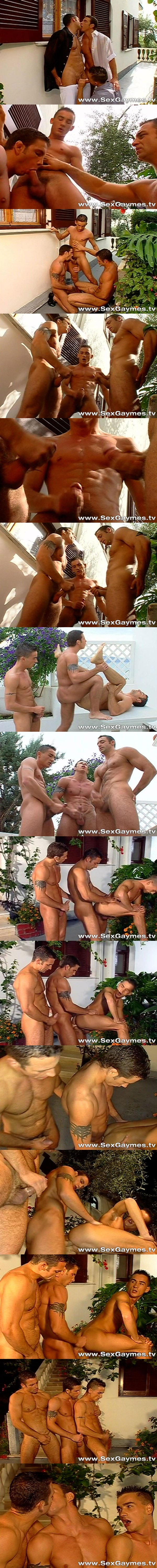 Renato Bellagio, Tim Brensen & Sergio Foster euro threeway at Sexgaymes 02