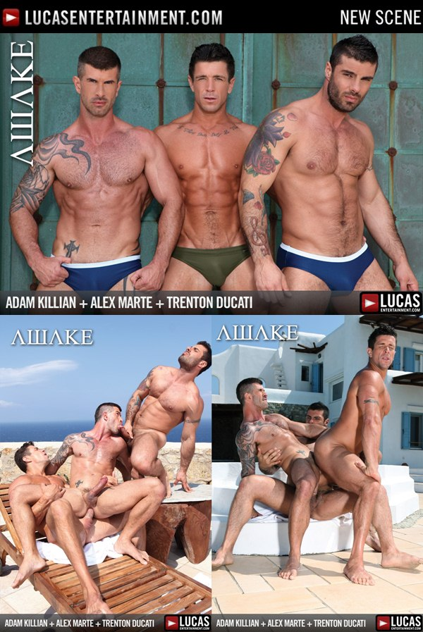 Hot threesome of Masculine and handsome Alex Marte Adam Killian and Trenton Ducati Flip-Fuck at Lucasentertainment