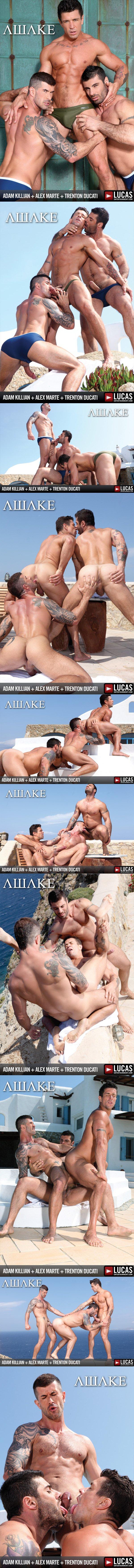 Hot threesome of Masculine and handsome Alex Marte Adam Killian and Trenton Ducati Flip-Fuck at Lucasentertainment 01