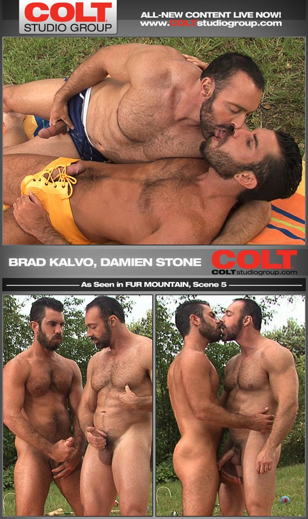 Masculine hairy daddy Brad Kalvo & Damien Stone mutual oral and jerking off in Fur Mountain at Coltstudiogroup