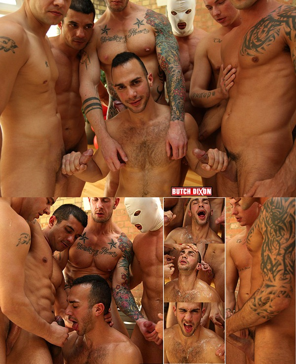 Pablo Nunez sucks and gets cum facial in Birthday Bukkake orgy at Butchdixon