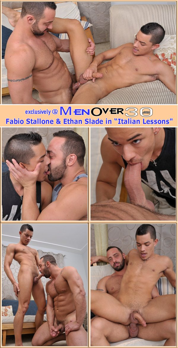 masculine daddy Fabio Stallone fucks the cum out of cute Ethan Slade at Menover30