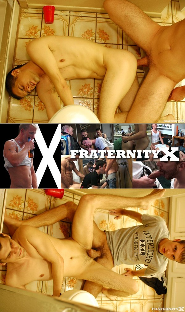 guys took turns pissing on Anthony and fucking his hole at Fraternityx 01