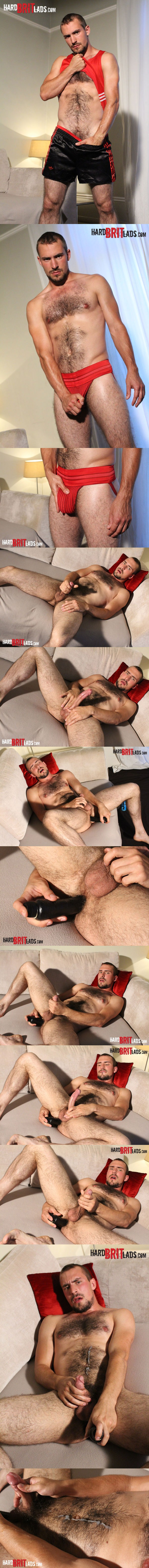 Sexy looking Guy Rogers fingering and dildo fucking solo at Hardbritlads 01