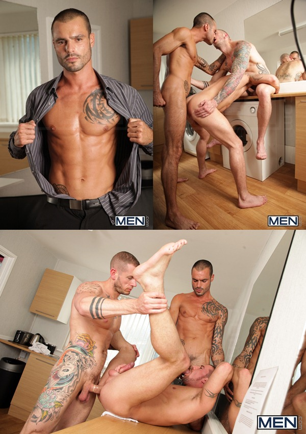 masculine tattooed Issac Jones & Harley Everett fuck Marco Sessions at Drillmyhole 01