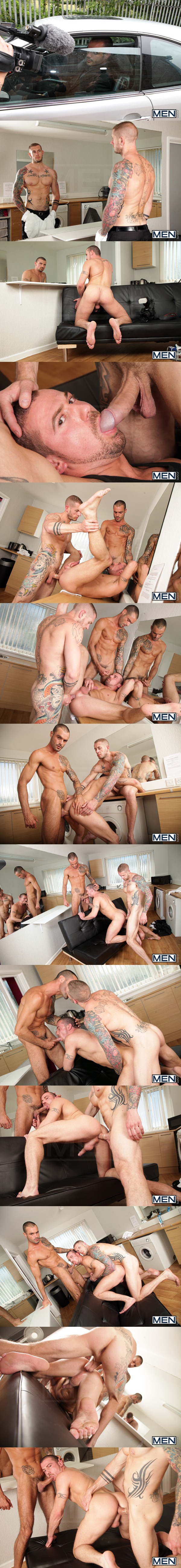 masculine tattooed Issac Jones & Harley Everett fuck Marco Sessions at Drillmyhole 02