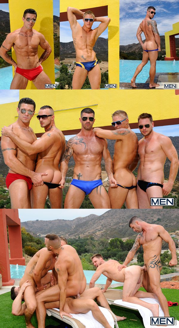 hot fivesome orgy of Philip Aubrey, Jessie Colter, Hans Berlin, Adam Killian And Trenton Ducati at Jizzorgy 01
