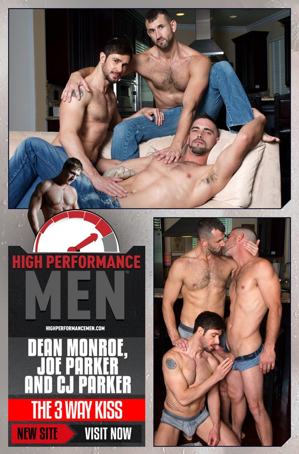 Joe Parker Fucks masculine CJ Parker & hot Dean Monroe with 3-way kiss at Highperformancemen 01
