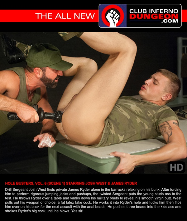 Muscle Daddy Josh West Fucks James Ryder with Huge Dildo and anal bead at Clubinfernodungeon