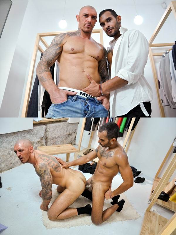 masculine bearded Lucio Saints Fucks tattooed Francesco DMacho at Thegayoffice