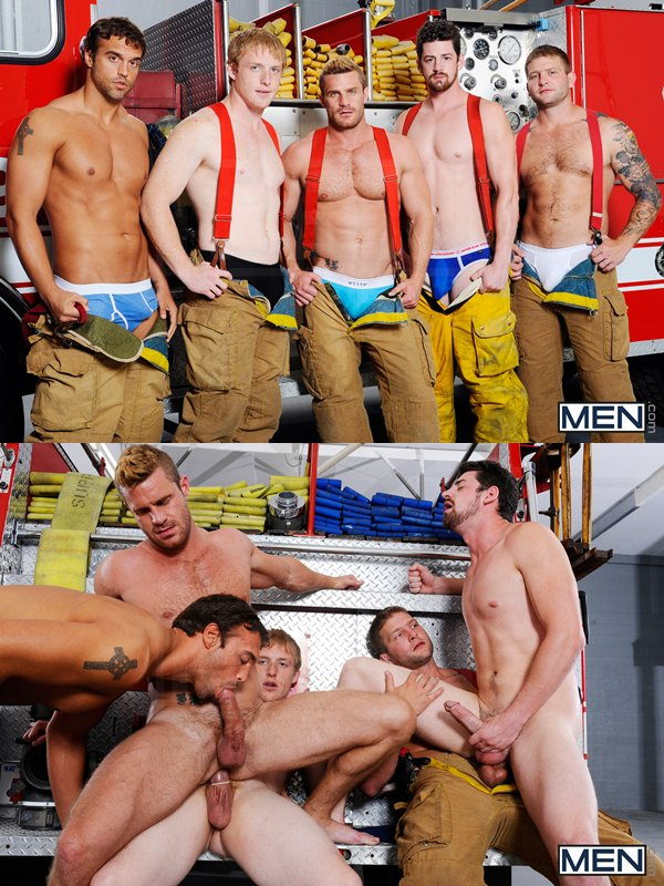 firemen themed fivesome orgy by Colby Jansen, Rocco Reed, Landon Conrad, Andrew Stark & Charlie Roberts at Men.com 01