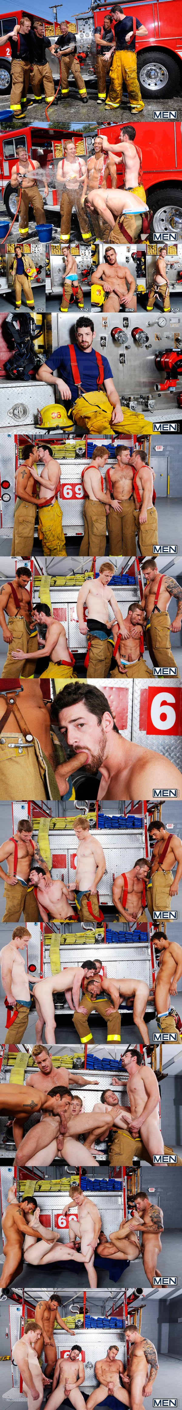 firemen themed fivesome orgy by Colby Jansen, Rocco Reed, Landon Conrad, Andrew Stark & Charlie Roberts at Men.com 02