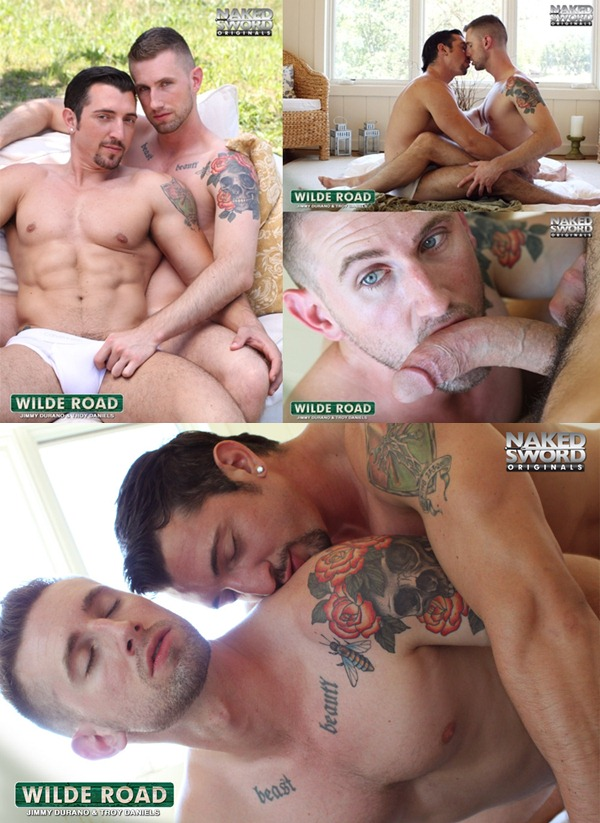 hung top Jimmy Durano makes out and fucks cute Troy Daniels at Nakedsword