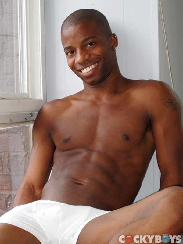New hung black guy J.J. Hardy jacking off solo at Cockyboys 01