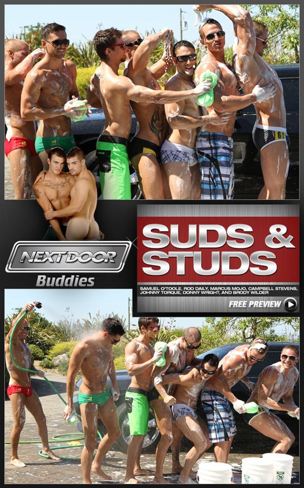 Orgy Hardcore of Samuel O'Toole, Rod Daily, Marcus Mojo, Campbell Stevens, Johnny Torque, Donny Wright and Brody Wilder in Suds & Studs at Nextdoorbuddies