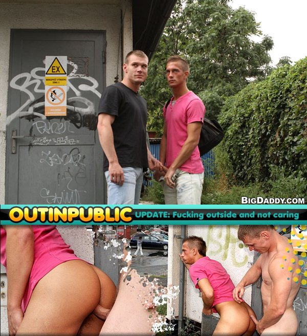 Handsome built hung boys have bareback sex and cum facial in Fucking Outside and Not Caring Outinpublic