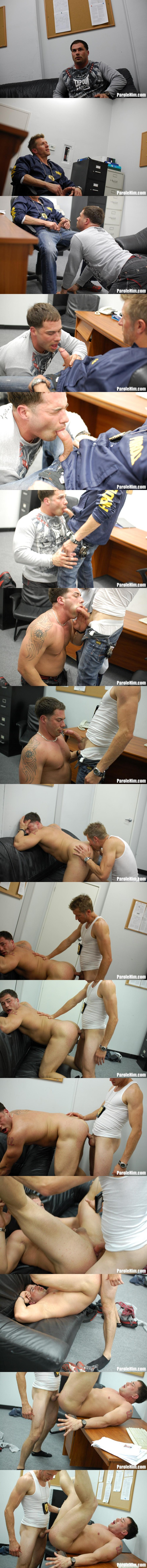 Officer Johnson Barebacks Muscle Jock Benny G in Thug Fucking at Parolehim 01