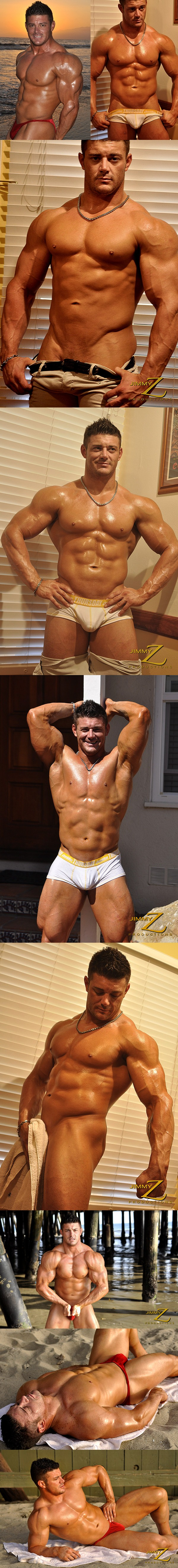 handsome muscle guy Austin Lewis flexing and posing in Photoshoot at Sunset at Jimmyzproductions 01