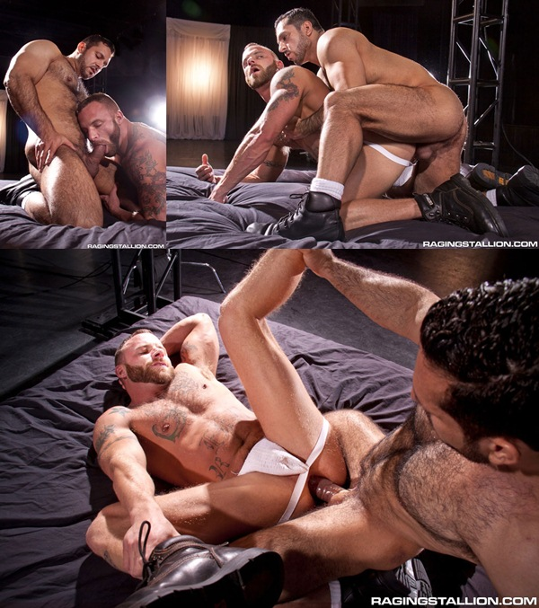 Hung bearded Adam Champ pounds masculine Derek Parker at Ragingstallion 01