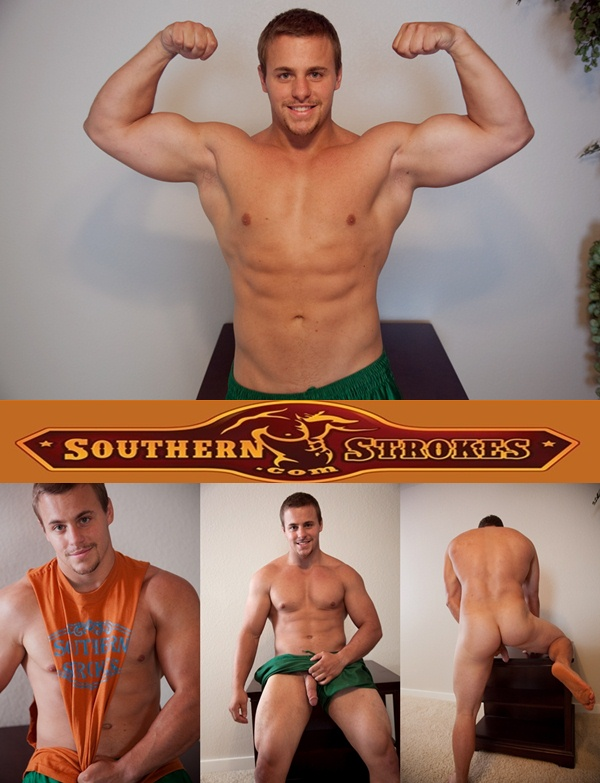 Handsome Muscular Gym Guy Carter shoots a big load at Southernstrokes