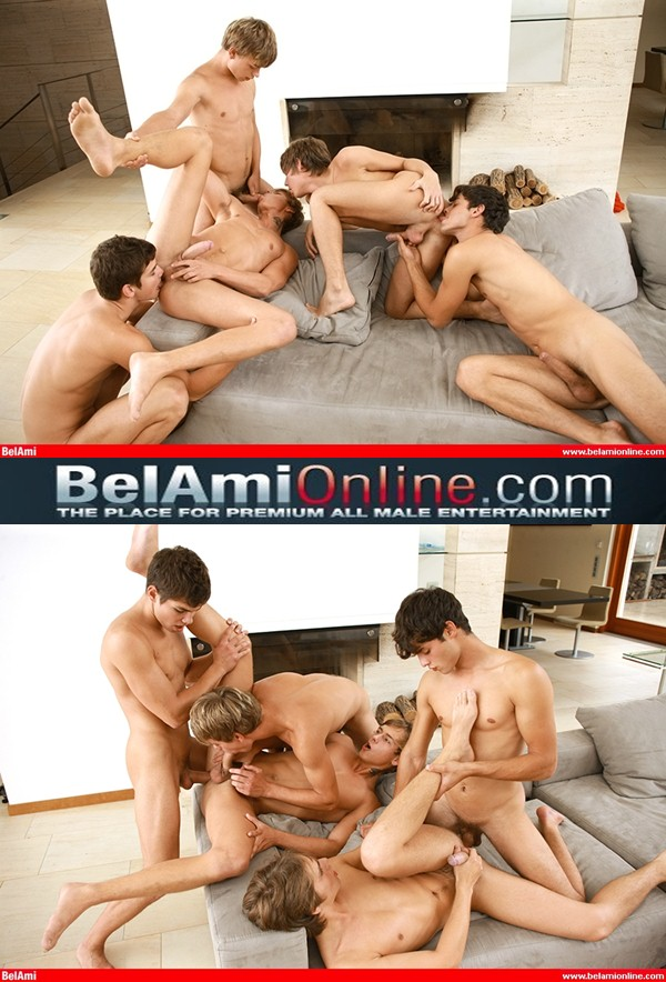 Kevin Warhol, Sean Davis, Adam Archuleta, Jack and Trevor bareback orgy in Scandal In The Vatican KinkyAngels Finale at Belamionline