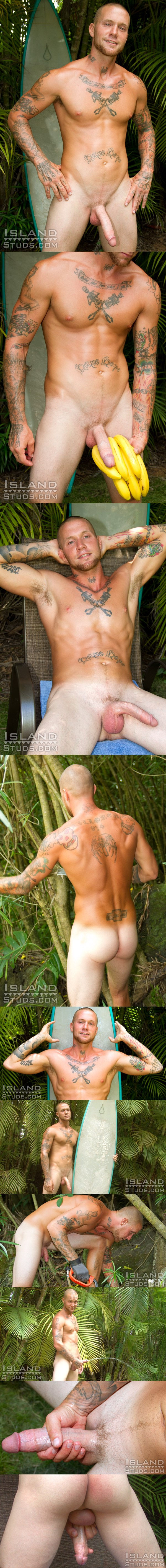 rough looking 9 inch monster dick Dino shoots a thick heavy load at Islandstuds 01