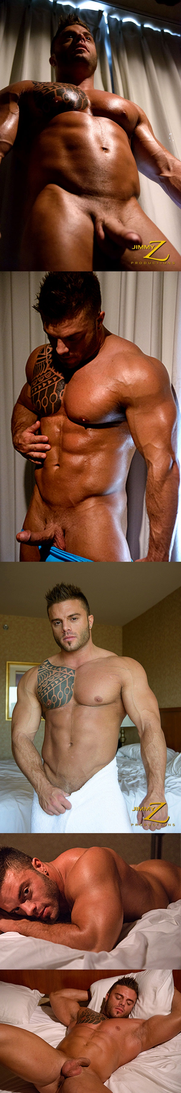 Sexy bodybuilder Devon Dexx shoots a hot load in Muscle Wake-up Part 2 at Jimmyzproductions 01