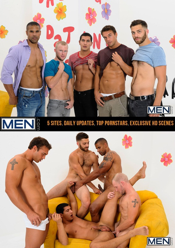 Robert Axel, Tommy Defendi, Rocco Reed and Zane Michaels fuck Tony Newport in The Gay Dating Game at Jizzorgy