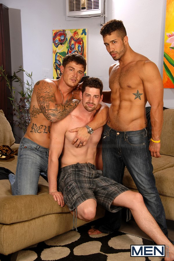 Hot muscular Trey Turner, Sebastian Young and Andrew Stark have threesome including double penetration in After the Masquerade at Drillmyhole