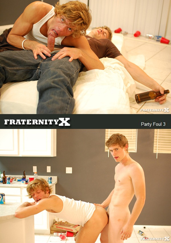Hot blond big-dicked Jansen barebacks Morgan in Party Foul 3 at Fraternityx