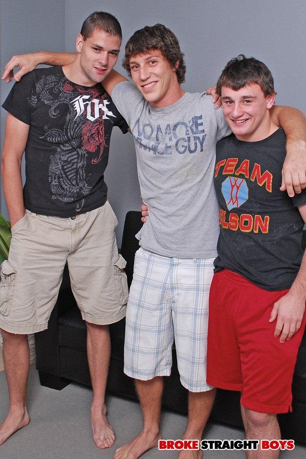 Hot Straight guy Paul Canon, Scott Harbor and John Silver shoot creamy loads at Brokestraightboys