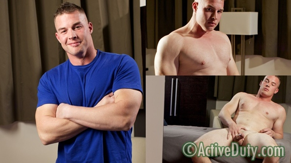 Hot Muscle Guy Weston Jacking off solo debut at Activeduty