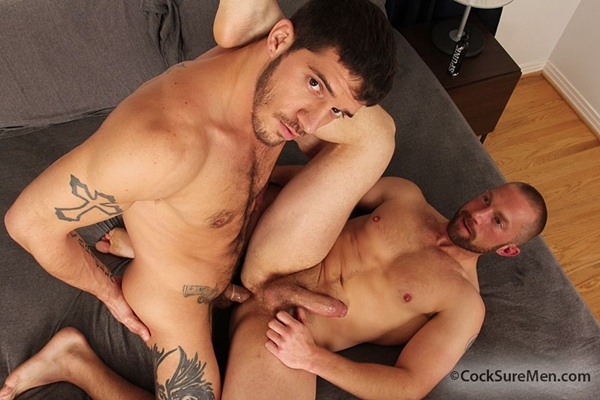 Masculine straight Ty Roderick plows muscular Adam Herst's hot ass at Cocksuremen