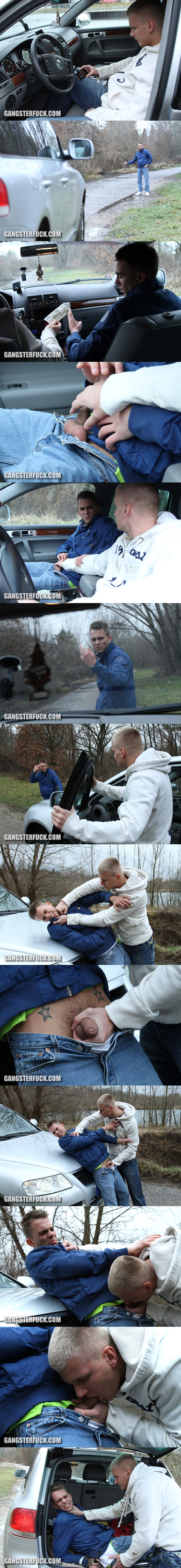 Handsome blond Lubos forces cute boy Jan to have sex in The Hitchhiker episode 01 at Gangsterfuck 01