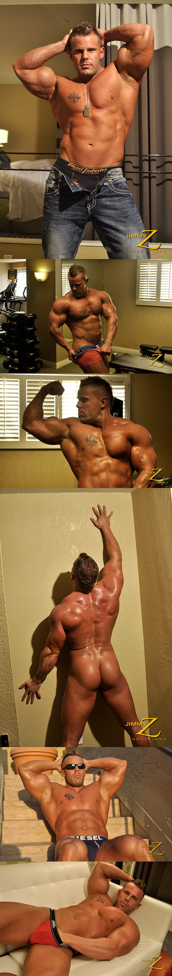 Hot muscle hunk Connor Stewart flexing, posing and showing off his big cock in Overnight Pt. 2 at Jimmyzproductions 01