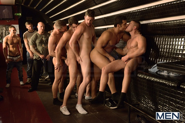 Marcus Ruhl, Andrew Stark, Jeffrey Branson, Kyler Braxton and Gabe Russel have gangbang orgy in Men in Budapest 8 at aJizzorgy