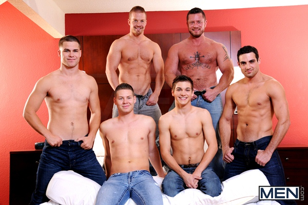 Johnny Rapid, Liam Magnuson, Jimmy Johnson, Charlie Harding, Jack King & Riley Banks Hot gangbang orgy in Turn Me Into A Whore 3 at Jizzorgy