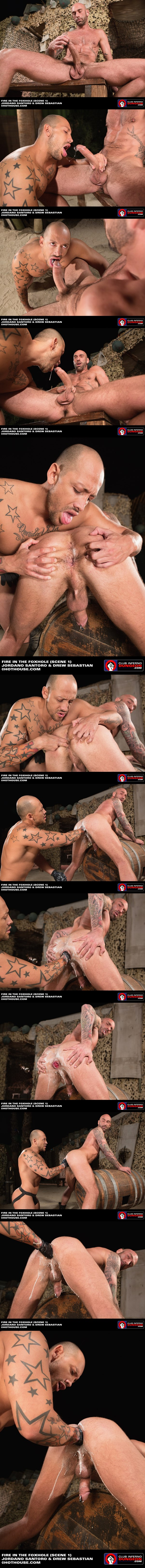 Muscular Jordano Santoro Double Fisting big-dicked rugged Drew Sebastian at Clubinfernodungeon 01
