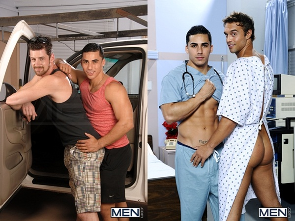 Hot exclusive top Topher Di Maggio fucks handsome Andrew Stark & sexy straight Rocco Reed at men.com
