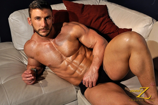 Handsome ripped Ryan Monroe flexing, posing, sexy talk in Physique Interview Part 1 at Jimmyzproductions