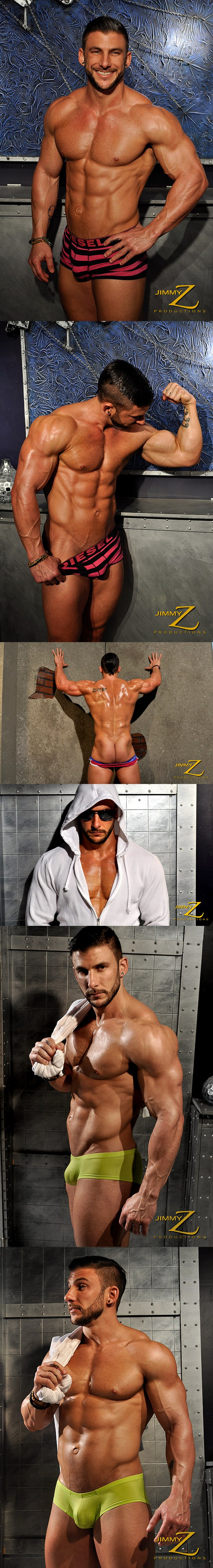 Handsome ripped Ryan Monroe flexing, posing, sexy talk in Physique Interview Part 1 at Jimmyzproductions 01