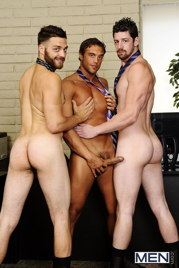 Threesome sandwich fucking of Rocco Reed Fucks Andrew Stark and Tommy Defendi in The Promotion at Thegayoffice