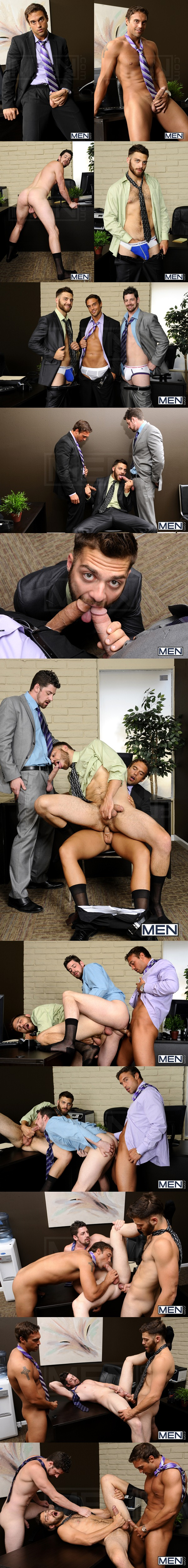Threesome sandwich fucking of Rocco Reed Fucks Andrew Stark and Tommy Defendi in The Promotion at Thegayoffice 01