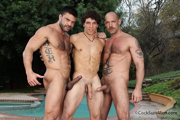 Masculine Rogan Richards fucks muscular Jake Deckard & Austin Merrick in a horny threesome at Cocksuremen