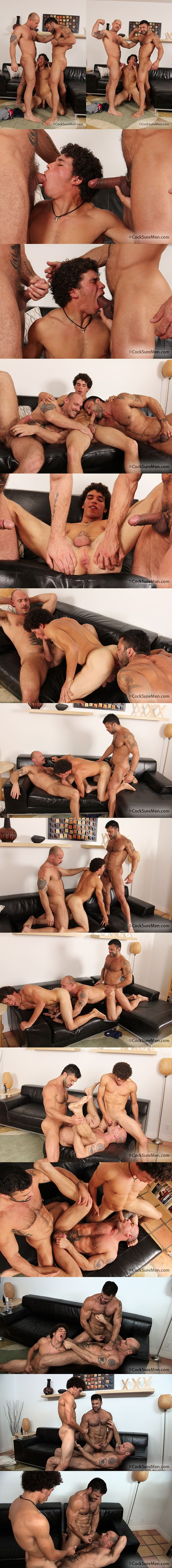 Masculine Rogan Richards fucks muscular Jake Deckard & Austin Merrick in a horny threesome at Cocksuremen 01