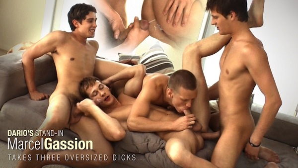 Hot new model Marcel Gassion gets gangbang barebacked by big-dicked Alec Rothko, Paul Valery & Marco Bill at Belamionline