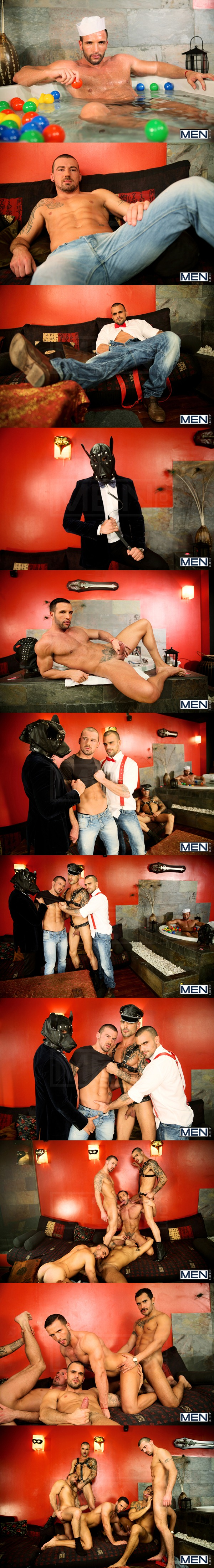 Damien Crosse, Issac Jones, Lucio Saints, Marco Sessions and Donato Reyes hot orgy of kissing, sucking, rimming and fucking in Justified at Jizzorgy 01